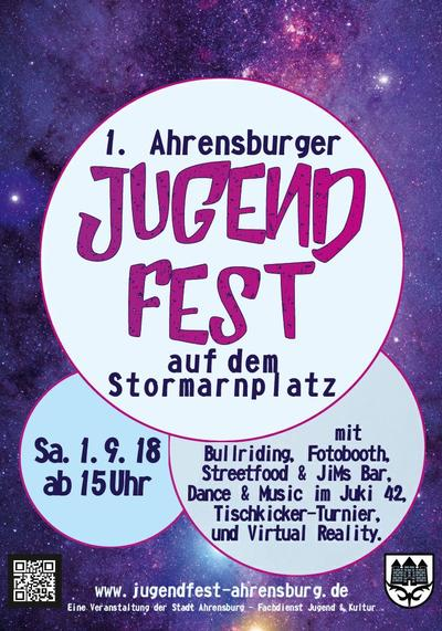Bild vergrößern: Plakat zum 1. Ahrensburg Jugendfest am 1.9.2018 ab 15 Uhr auf dem Stormarnplatz mit Bullriding, Fotobooth, Streetfood und Jim`s Bar. Dance and Music im Juki 42, Tischkicker-Turnier und Virtual-Reality.  © Stadt Ahrensburg
