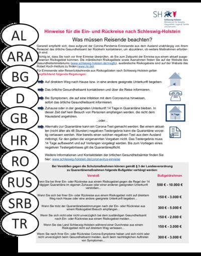 Informationsblatt Hinweise für die Ein- und Rückreise nach Schleswig-Holstein